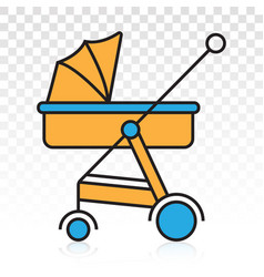Baby carriage pram flat colour icon for apps vector