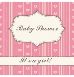 Background with banner baby shower girl vintage vector image