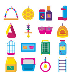 Big flat icon set of accessories for bird in cage vector