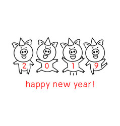 Black line drawing four pigs dancing celebrating vector