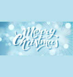 blue merry christmas text hand drawn lettering vector image