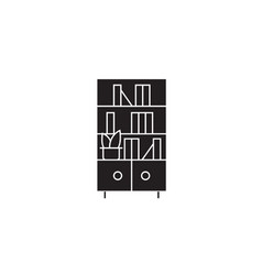 bookcase black concept icon bookcase flat vector image