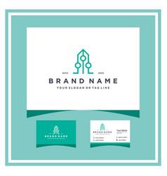 Build tech logo design and business card vector