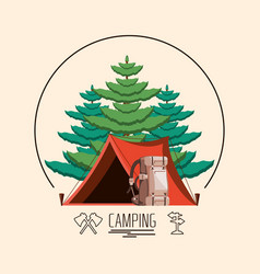 Camping zone with tent and trees plant vector