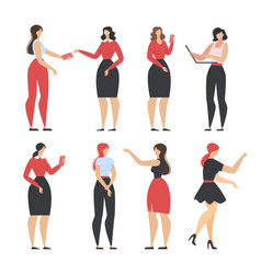 Cartoon beautiful women in different outfits set vector