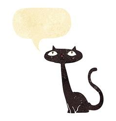 cartoon black cat with speech bubble vector image