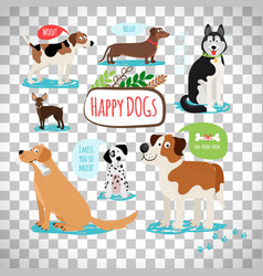 Cartoon dogs on transparent background vector