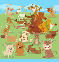 cartoon happy dogs group vector image vector image
