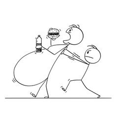cartoon morbid obese or fat man eating vector image