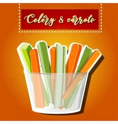 Celery and carrots sticks Raw food vector