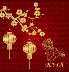 Chinese new year 2018 year of the dog stylized vector