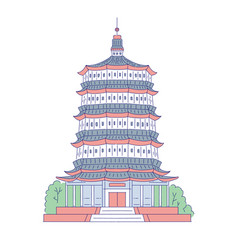 chinese pagoda architectural landmark vector image