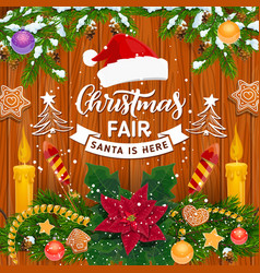 christmas garland winter holiday fair invitation vector image