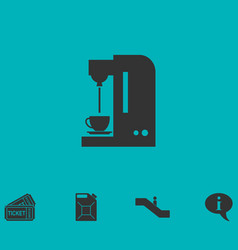 Coffee maker machine icon flat vector