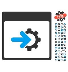 Cog integration calendar page icon vector