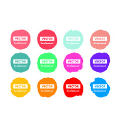 Colorful round brushstroke paint stains isolated vector