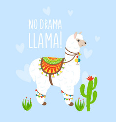 cute cartoon lama alpaca with cactus vector image