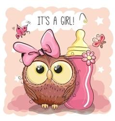 Cute Cartoon Owl girl vector