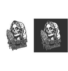 dia de los muertos vintage print vector image