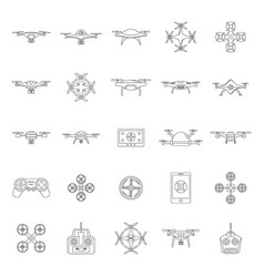 drone camera quadcopter icons set outline style vector image