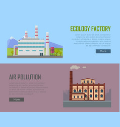 ecology factory and air pollution plant banners vector image