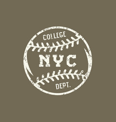 Emblem of the baseball team of new york vector