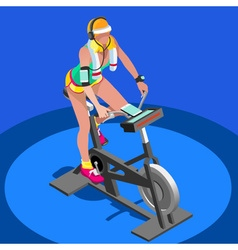 Exercise Bike Spinning Gym Class 3D Isometric vector image