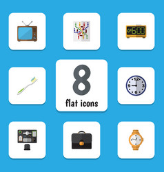 Flat icon oneday set of bureau television vector