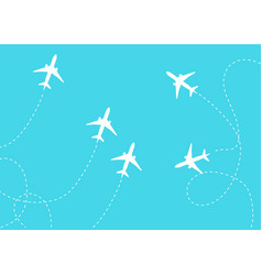 flat plane and its track on blue background vector image