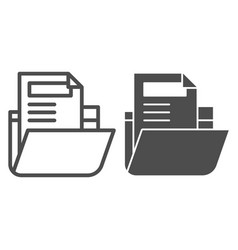 Folder with file line and glyph icon archive vector