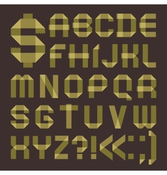 Font from greenish scotch tape - Roman alphabet vector image