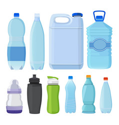 glass and plastic bottles of different types for vector image
