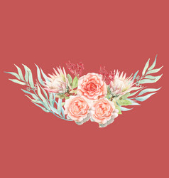 gradient pink watercolor painting penoy flower vector image