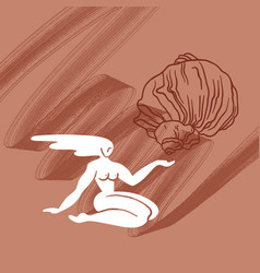 hand drawn flat girl with shell vector image