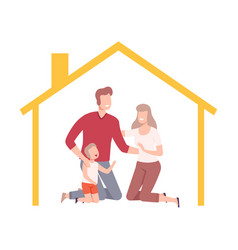 happy parents and their son at home house frame vector image