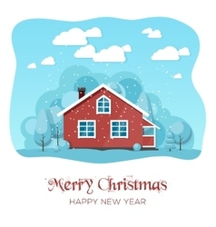 House in winter forest Christmas card background vector