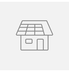 House with solar panel line icon vector