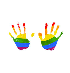 human palm prints with rainbow lgbt flag isolated vector image