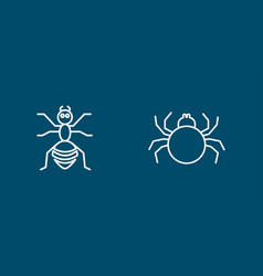 Insects line icon set with spider ant vector