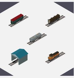 Isometric railway set of train depot subway vector