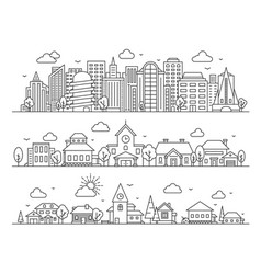 Line city town and village landscape panoramas vector