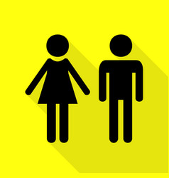male and female sign black icon with flat style vector image