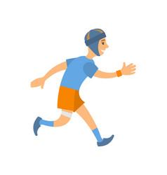 man in blue t-shirt shorts and socks run marathon vector image
