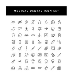 medical icon set with black color outline style vector image