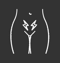 menstrual cramps and pain chalk icon vector image