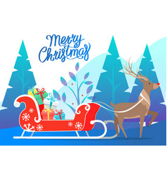 merry christmas reindeer with carriage presents vector image