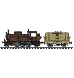 Old brown steam locomotive and tank wagon vector