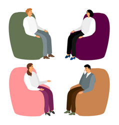 people in armchairs cartoon men and women sit in vector image