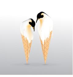 Pinguin melting ice-cream with sweet waffle vector