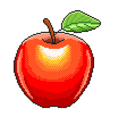 pixel apple fruit detailed isolated vector image